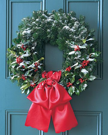 To carry on the cheerful tradition of holly-bedecked halls, add berry accents to a circle of silver fir. Because holly dries out quickly, it's best to display this wreath outside.