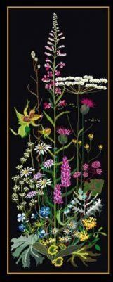 Roadside Garden Cross Stitch Kit - Black Aida