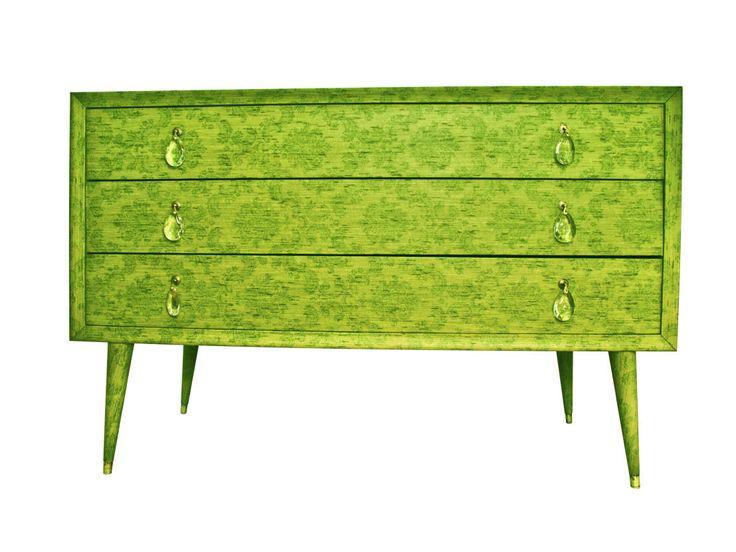 Canterano, comò verde rivestito con carta da parati in tessuto anni 70 OBGETTI