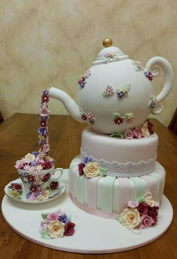 Cute idea using real tea pot and tea cups., I just don't have the talent to make a cake Ike that