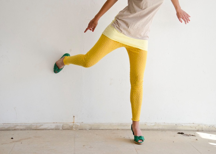 Last One, Yellow Lace Leggings, Handmade, Made to Order in XS S M L XL XXL. $34.00, via Etsy.