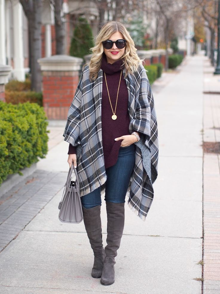 plaid, burgundy, over the knee boots