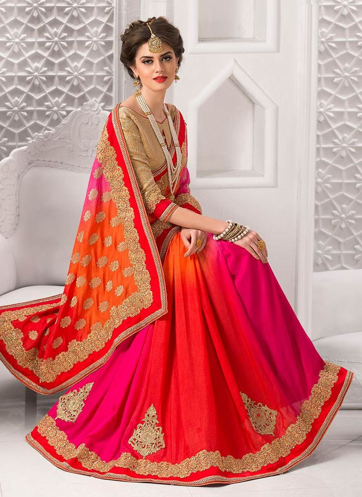 Оранжевый Розовый N Art Silk Saree
