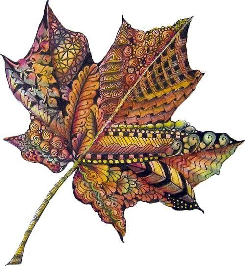 zentangle leaf color pinned from Pauline Coombes Lasst euch inspirieren von herbstlicher Farbenfreude!