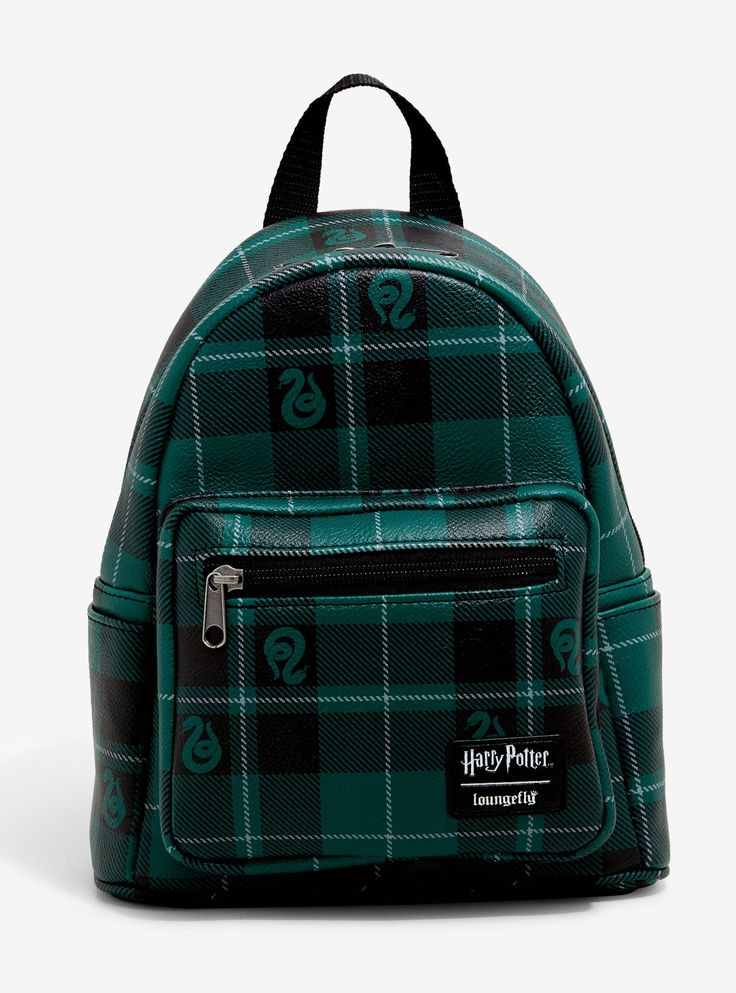Loungefly harry potter slytherin plaid mini backpack in