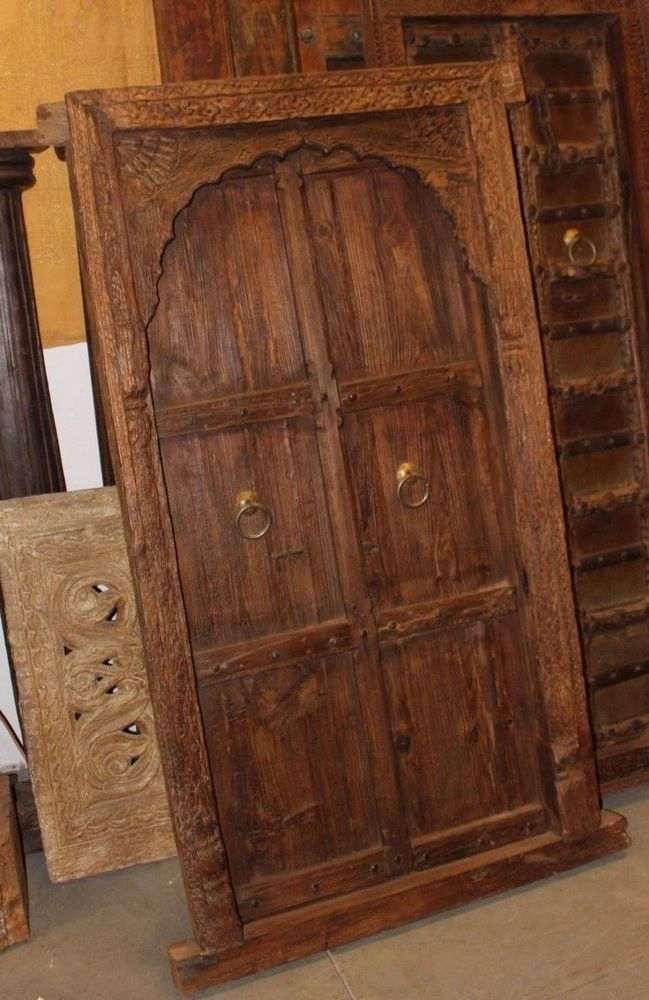 Details about ANTIQUE INDIAN WINDOW TERRACE DOORS ARCHED SOLID WOOD