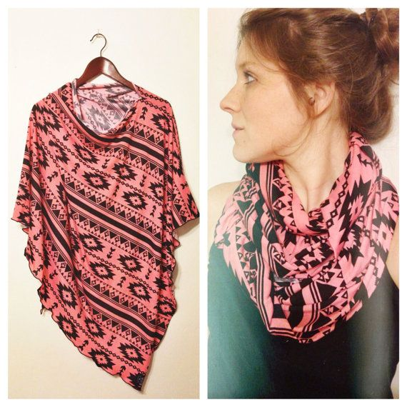 Aztec Nursing Scarf /Poncho in Blush and Light Gray Jersey ...