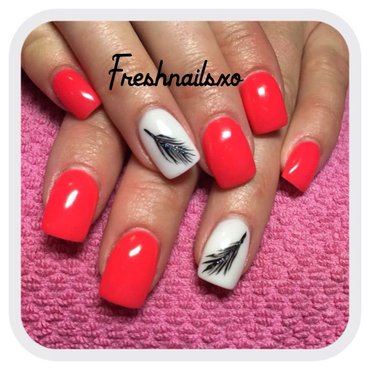 Coral gel nails , feather nails