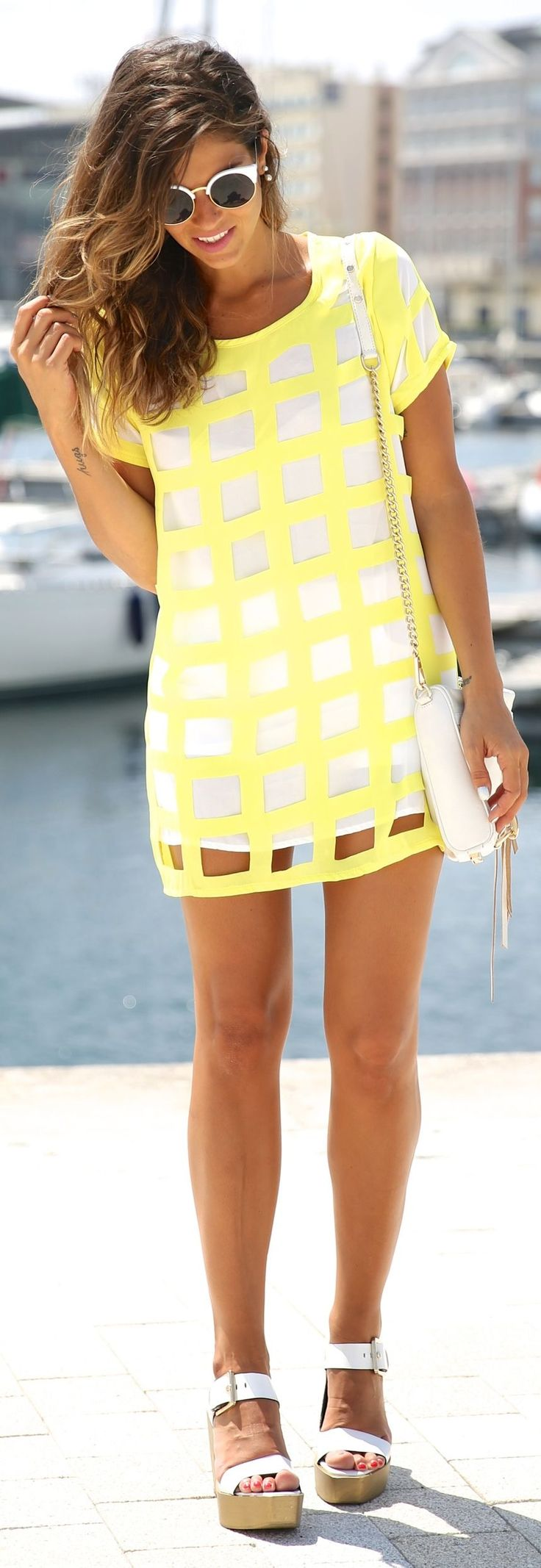 Choies Neon Yellow And White Cutout Windowpane Mini Tee Dress by TrendyTaste. How cute @alir1104 @clarahope!