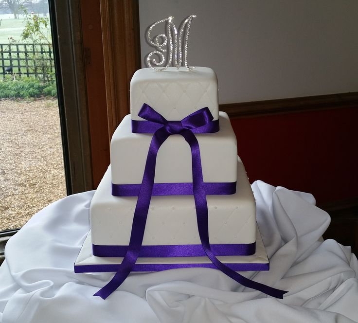 3 Tier Square Wedding Cake Quilted Effect On Top And