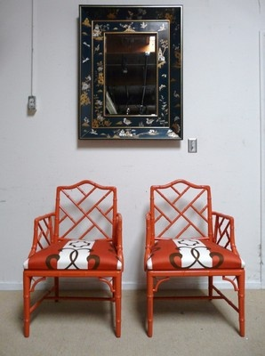 Sun porch...PAIR CHINESE CHIPPENDALE FAUX BAMBOO ARM CHAIRS RESTORED - 4 Available in All