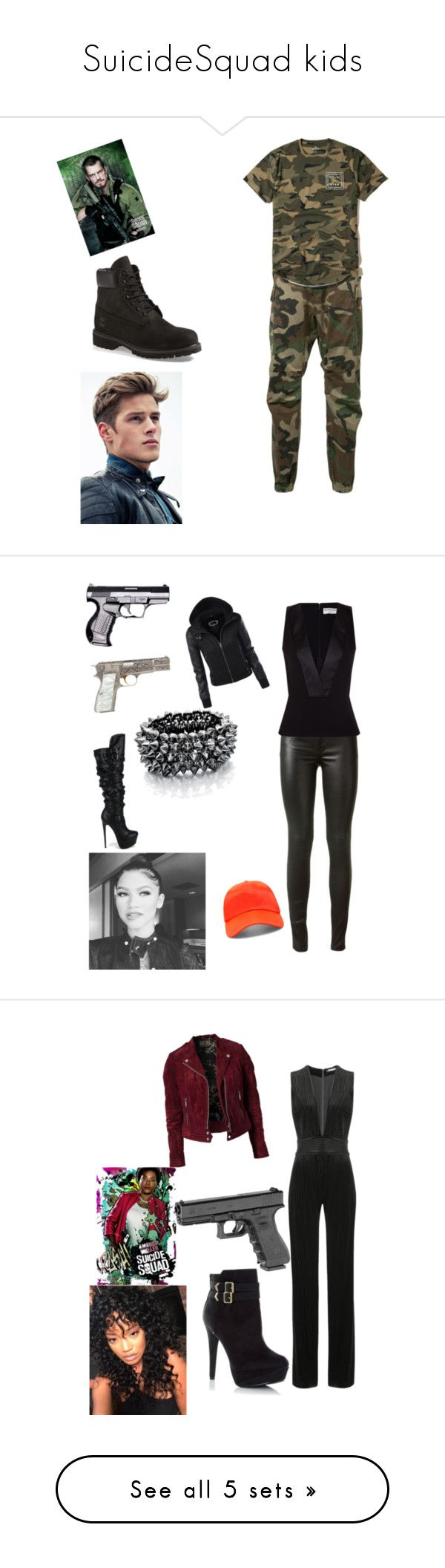"""SuicideSquad kids"" by alexys0612 ❤ liked on Polyvore featuring R13, Hollister Co., Timberland, men's fashion, menswear, Yves Saint Laurent, Balenciaga, Fahrenheit, Fiorelli and Forever 21"