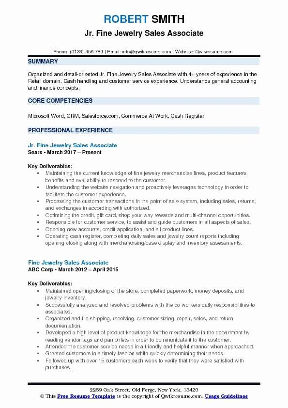 Jewelry Sales Associate Resume Unique Fine Jewelry Sales Associate Resume Samples