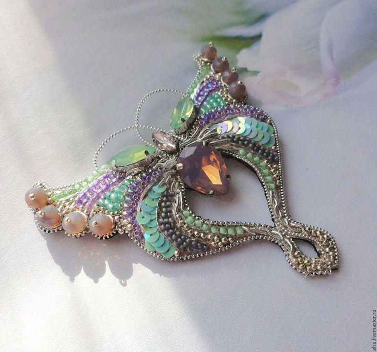 Купить Резерв!! Брошь-бабочка в лавандовом и мятном - бабочка, брошь, брошь бабочка, модерн