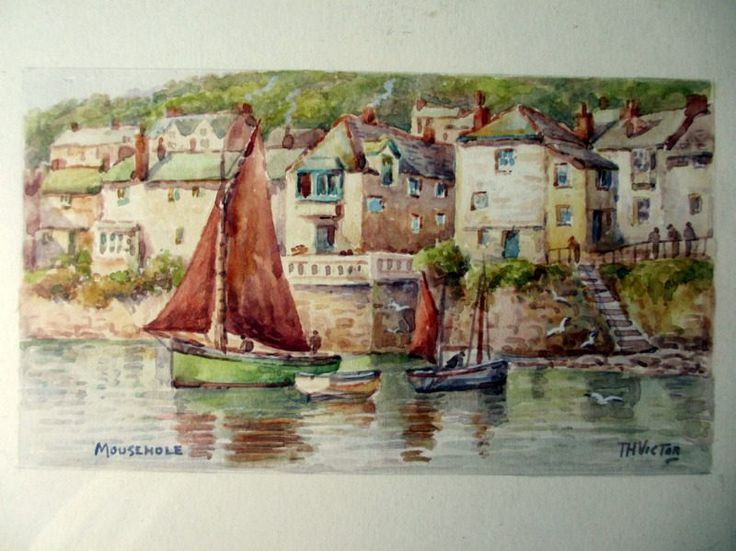 Mousehole, Cornwall, watercolour, signed T.H. Victor. c1960. Framed. http://www.ranchiartandbooks.co.uk/ourshop/prod_3383950-Mousehole-Cornwall-watercolour-signed-TH-Victor-c1960-Framed.html