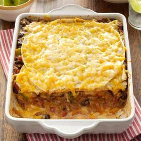 Taco Lasagna - my notes on the paper copy say this was really good (made it in 2009).  Used yellow bell peppers and seasoning and tortillas from a soft taco kit.  I also added the taco sauce to the meat.