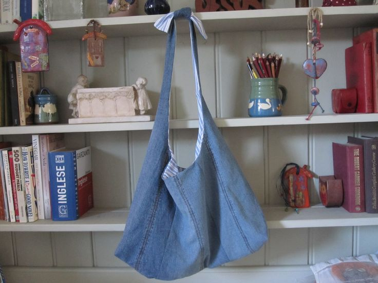 Soft pale blue gingham shoulder pouch at http://beashive.co.uk/product/slouch-pouch/