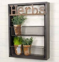 "15""W x 3½""D x 20""T. Use this rack in a garden to hold small potted plants. This caddy would also make a charming spice rack in a kitchen. Holds standard size spice bottles. Hangs with two holes on the"