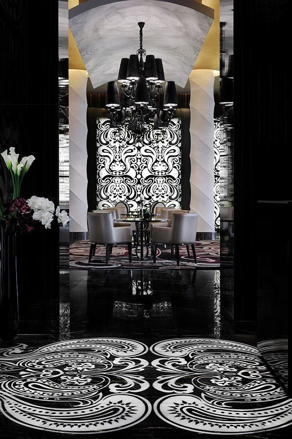 Black and white. Paisley floor. Gorgeous dining at The Palm, Dubai, United