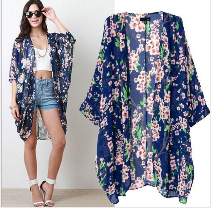 Find More Blouses & Shirts Information about Big Flower Chiffon Kimonos Sexy SunWear,High Quality chiffon knee length dress,China chiffon sari Suppliers, Cheap kimono tee from Lolo Moda on Aliexpress.com