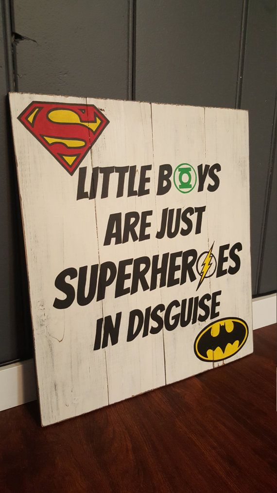Superhero Sign ~ Little Boys are just Superheroes in Disguise ~ Boys Room ~ Superman ~ Batman ~ Flash ~ Green Lantern