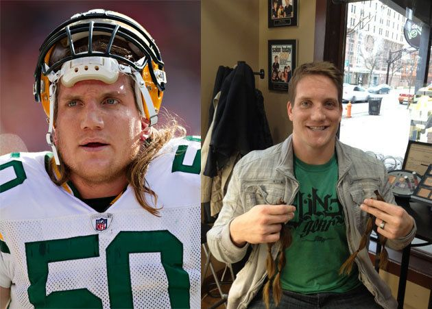 AJ Hawk cut off his hair for kids with cancer.
