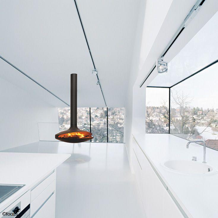 #cheminee gyrofocus foyer suspendu pivotant, pour #feu ouvert à bois #design contemporain