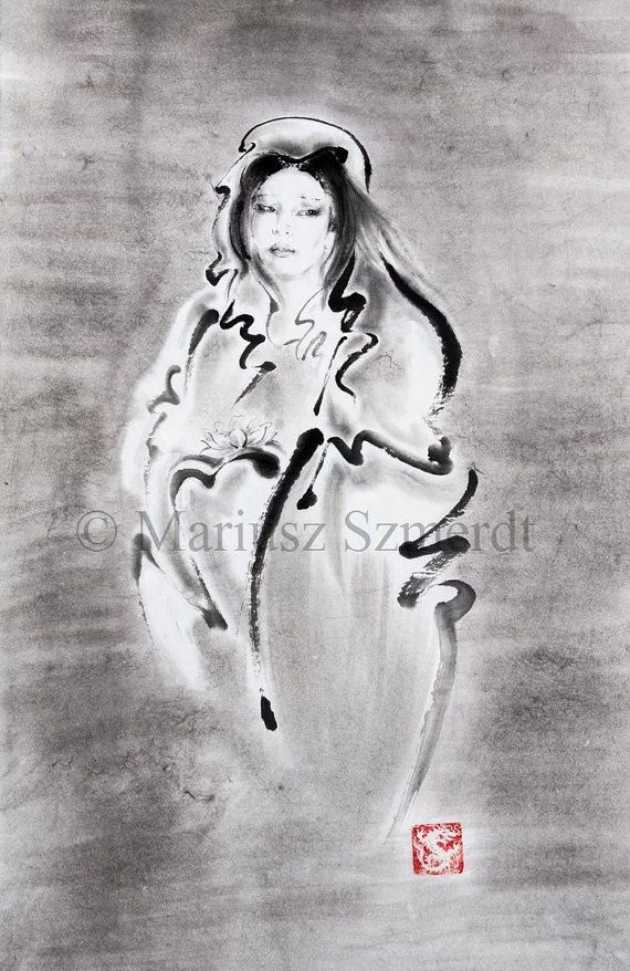 "SUMI-E Kannon artwork Japanese Goddess ORIGINAL painting gallery 36""x15"""