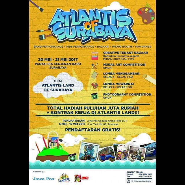 """EMCO mensponsori Lomba Mural ATLANTIS OF SURABAYA 😁 ❤  repost @kenparksurabaya Kenjeran Park is start to roaring back again!  Halo arek-arek Suroboyo dan sekitarnya! Di bulan Mei ini, Kenjeran Park bekerja sama dengan Jawa Pos dan PT. Mataram Paint bakal ngadain event yang seru. Event yang diberi nama """"Atlantis of Surabaya"""" ini bakal diadain selama 2 hari, 20 dan 21 Mei 2017. Ada apa aja sih di event """"Atlantis of Surabaya"""" ini?  Ada banyak banget! Kita bakal ada 4 lomba nih guys.  1. Mural…"""