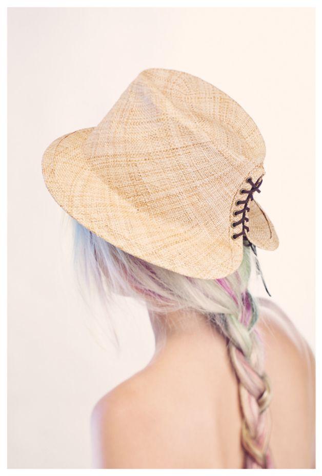 Hoge hoeden - Straw hat, Hand made hat, Hat with lacing at the b - Een uniek product van justinehats op DaWanda