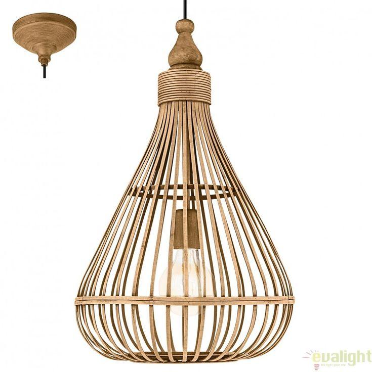 Lustra, Pendul design Vintage din lemn maro, diam.38cm AMSFIELD 49771 EL - Corpuri de iluminat, lustre, aplice