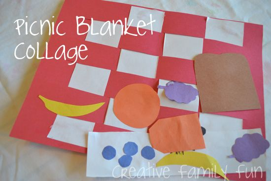 Get Crafty: Picnic Blanket Collage ~ A fun kids craft that combines paper weaving with collage making