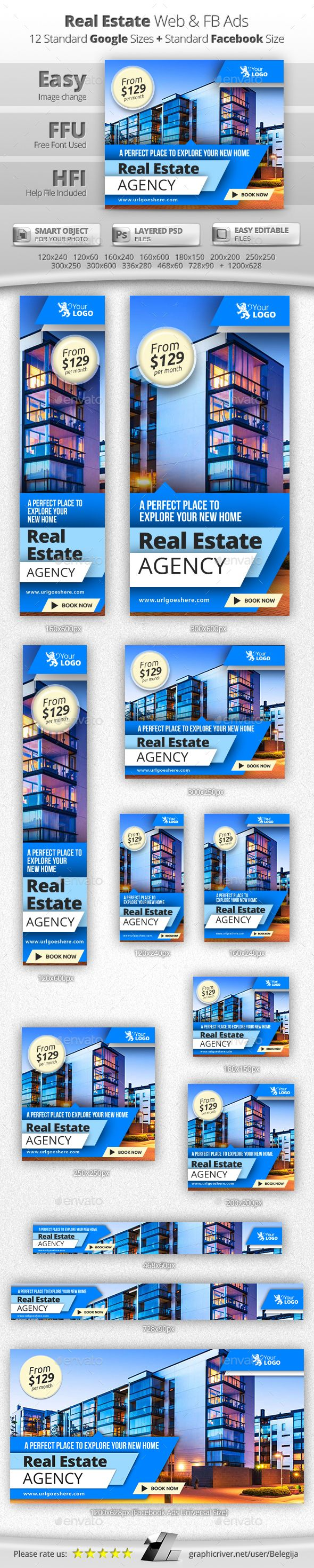 Real Estate Web & Facebook Banners PSD Template #design Download: http://graphicriver.net/item/real-estate-web-facebook-banners/13088516?ref=ksioks