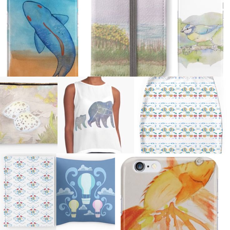 20% off all products at www.redbubble.com/people/pokegirl93 over 40 products including iPhone and Samsung cases, skins and wallets, throw pillows, mini skirts, vests, hard cover journals and studio pouches. Commissions are OPEN. Please support me at www.patreon.com/pokegirl93 #watercolour #watercolor #paint #fish #bird #landscape #bear #space #stars #ursamajor #ursaminor #bluetit #eggs #hotairballoon #goldfish