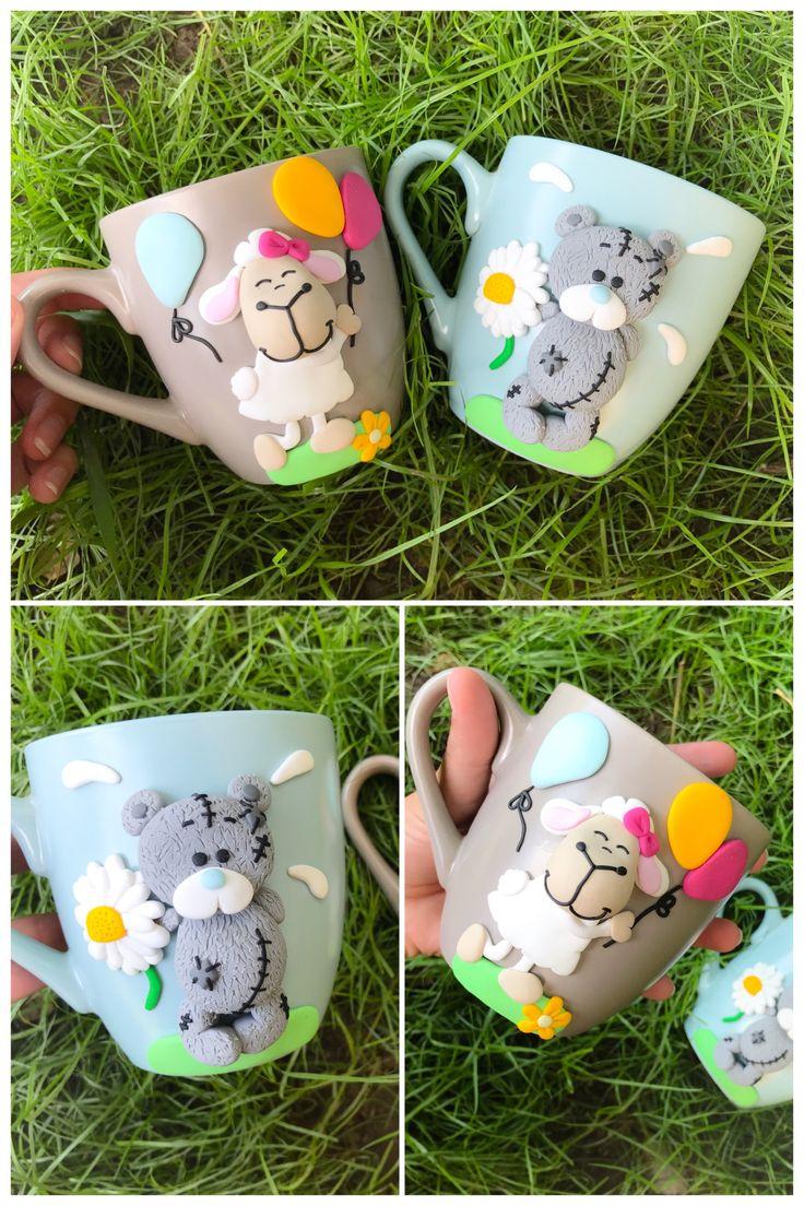 Metoyou bear teddy sheep nici cute girly ballon flower cartoon mug polymer clay handmade homemade