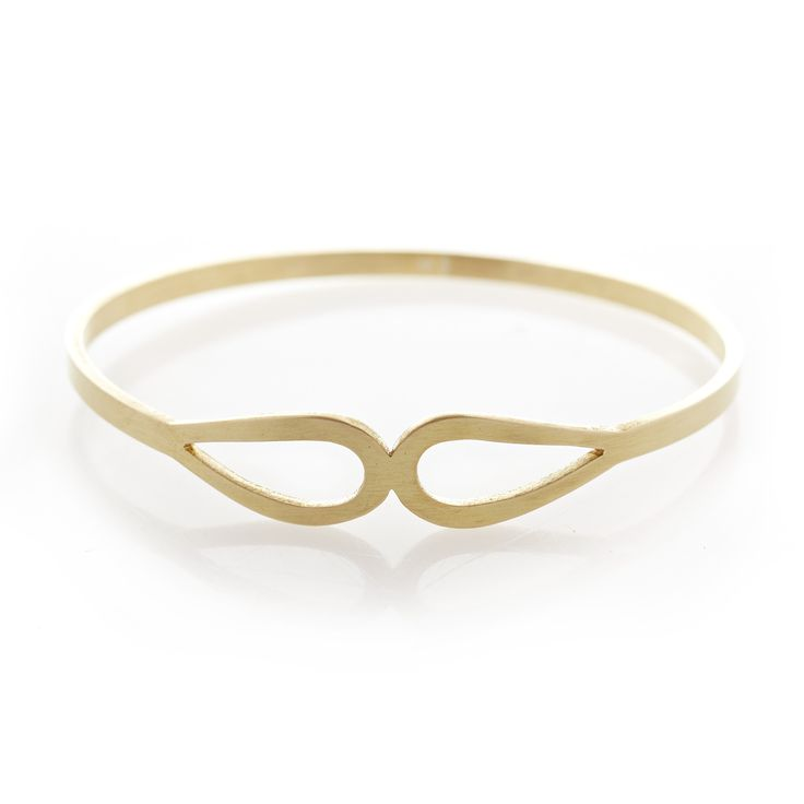 Two tear drop brass bangle