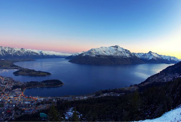 Queenstown features in our Top 10 Cities to Visit in New Zealand. Take a look at this image at dusk in winter.