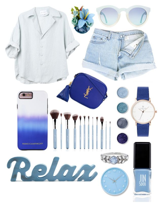 """BLUE"" by canara-imin on Polyvore featuring Yves Saint Laurent, Rebecca Minkoff, Terre Mère, JINsoon, Cathy Waterman and Lemnos"