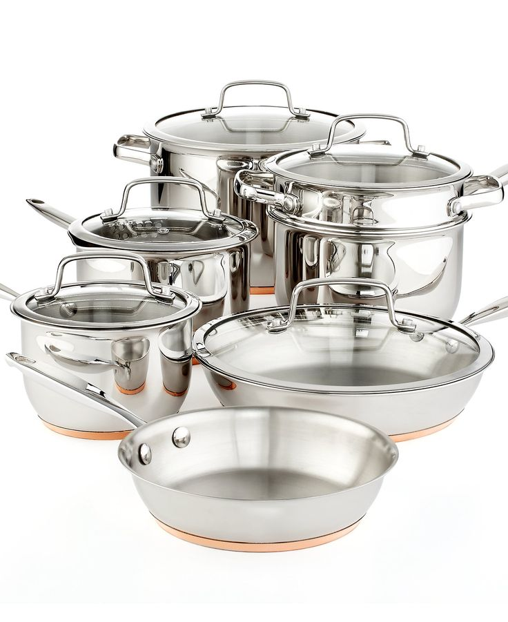 Martha stewart collection copper accent 12 piece cookware for Bride kitchen queen set