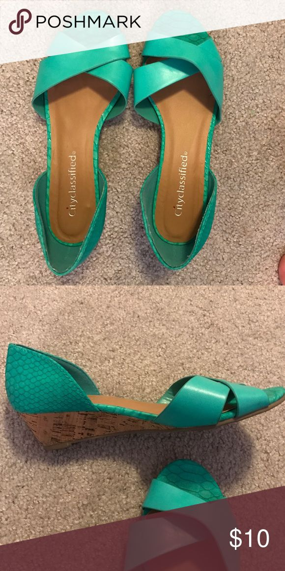 Snakeskin teal shoes Snakeskin teal sandals. Only worn twice. Cityclassified Shoes Sandals