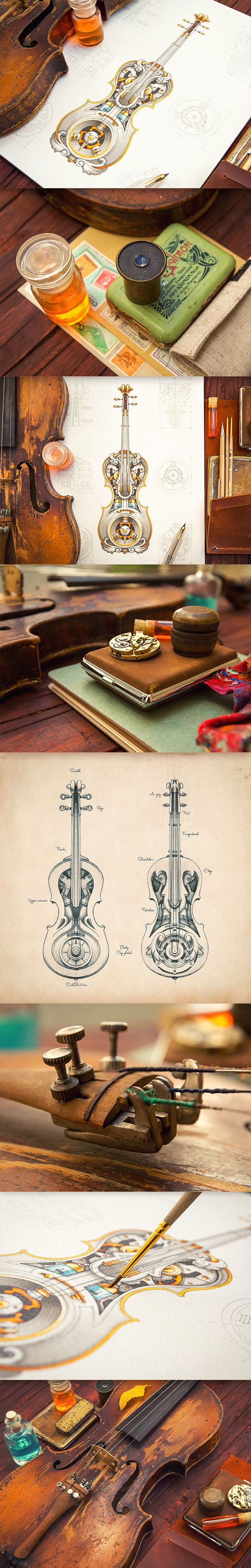 Mike on Behance. Sketchbook: violin, letters, etc. Everything this guy does is fantastic.
