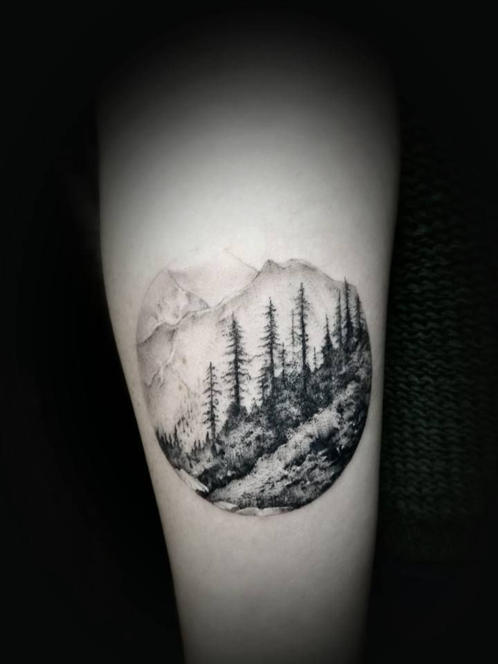 Circular Trees And Mountains Tattoo Design