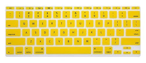 HRH - English Letter Keyboard Cover Silicone Skin for MacBook Air 11 11.6 Inch A1465 A1370 US keyboard Layout-Yellow