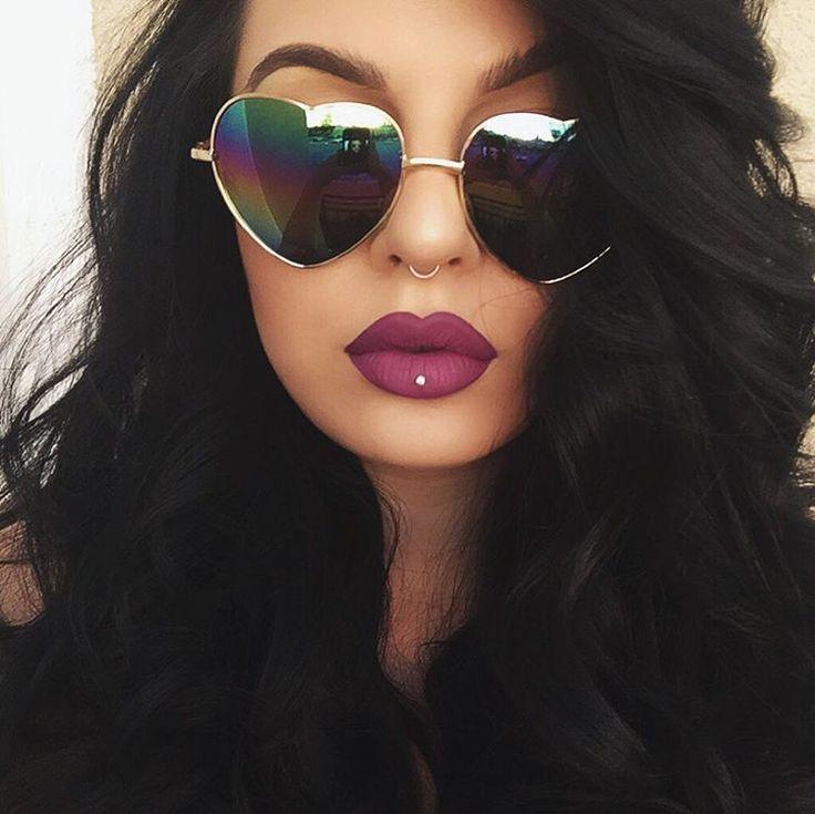 "ourfa zinali on Instagram: ""Shades: @sunglassspot. Lips: Susperia liquid lipstick by @thekatvond with Currant pencil by MAC. """