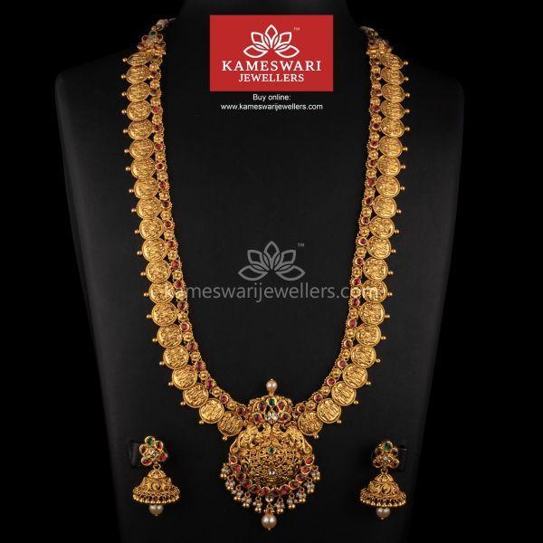 Antique Kundan Ramparivar Mala Antique Gold Jewelry Indian Gold Fashion Necklace Gold Wedding Jewelry