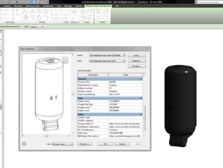 Screenshot from Revit with a Tork Dispenser as a BIM object