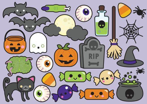 Premium Vector Clipart - Halloween Clipart - Spooky Halloween Clip art Set…