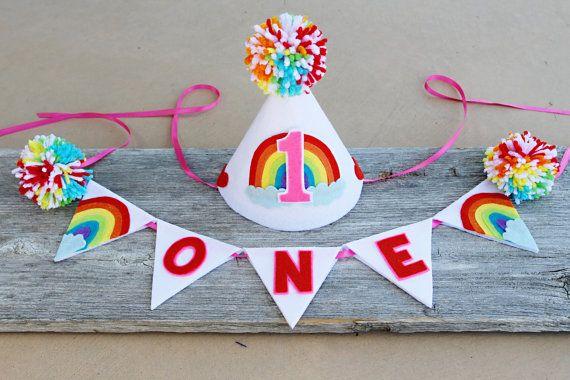 Girls 1st Birthday Rainbow Party Hat - Cake Smash - Girls High Chair One Banner on Etsy, $20.00