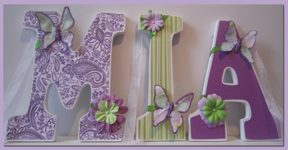 Butterfly Theme Girl's Nursery or Bedroom Wall Letters by dmh1414, $12.50