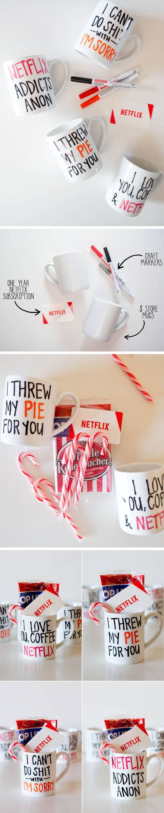 DIY Netflix Coffee Mugs   Click Pic for 29 DIY Christmas Gift Ideas for Men   Last Minute DIY Christmas Gifts for Friends